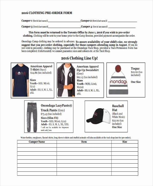 Pre order form Template Inspirational 9 Clothing order forms Free Samples Examples format