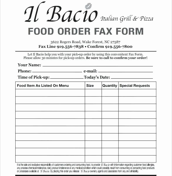 Pre order form Template Luxury Template Food order form Template