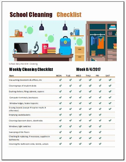 Preschool Cleaning Checklist Template Awesome School Cleaning Checklist Template for Excel