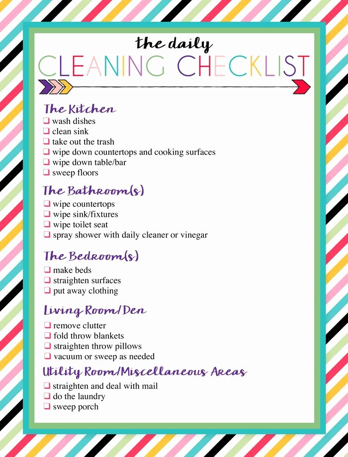 Preschool Cleaning Checklist Template Beautiful Free Printable Daily and Weekly Cleaning Lists