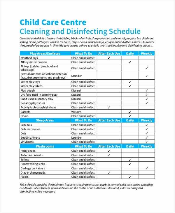 Preschool Cleaning Checklist Template Fresh 47 Sample Schedules