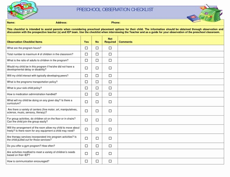 Preschool Cleaning Checklist Template Inspirational Preschool Teacher Observation Checklist