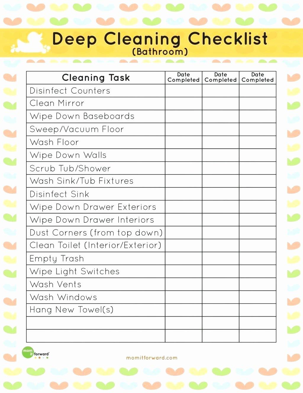 Preschool Cleaning Checklist Template Inspirational Template Classroom Cleaning Checklist Template Plete