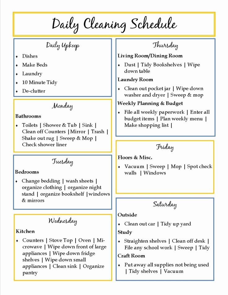 Preschool Cleaning Checklist Template Lovely top 25 Best Daily Schedule Template Ideas On Pinterest