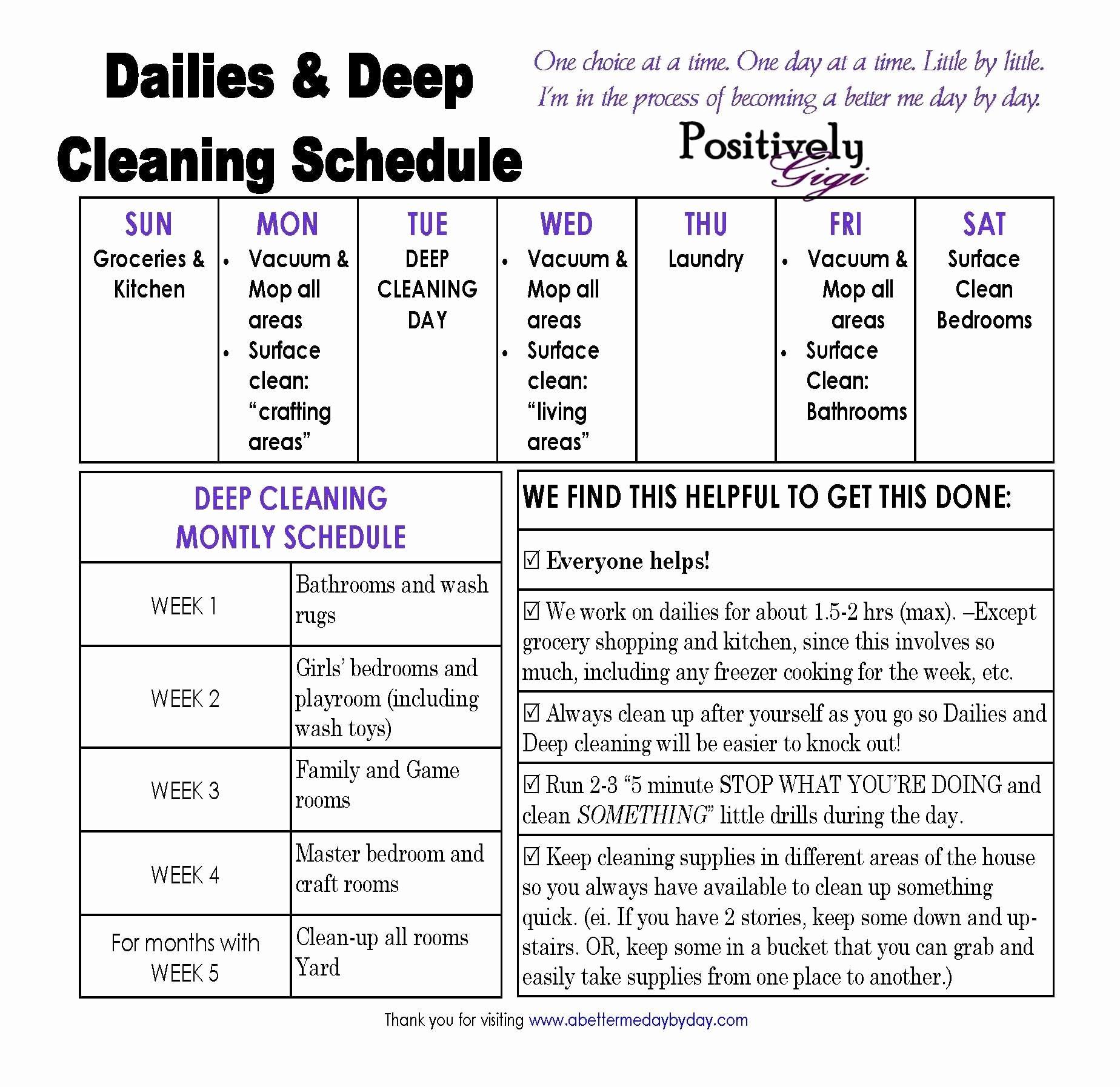 Preschool Cleaning Checklist Template New Housework Schedule Google Search