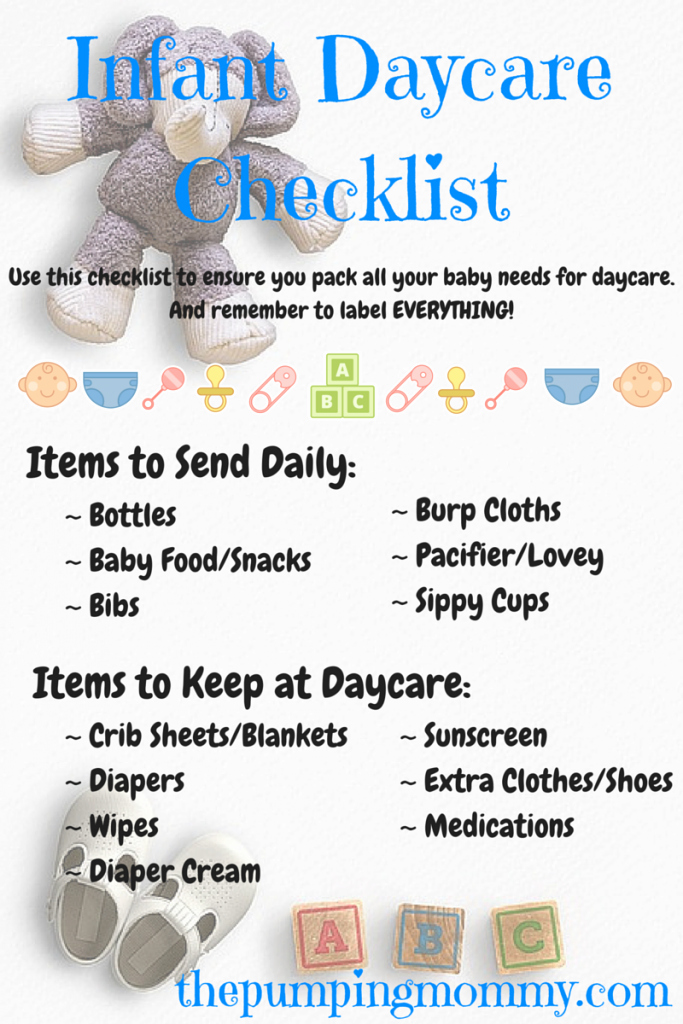 Preschool Cleaning Checklist Template Unique Infant Daycare Checklist – What to Pack and Label the