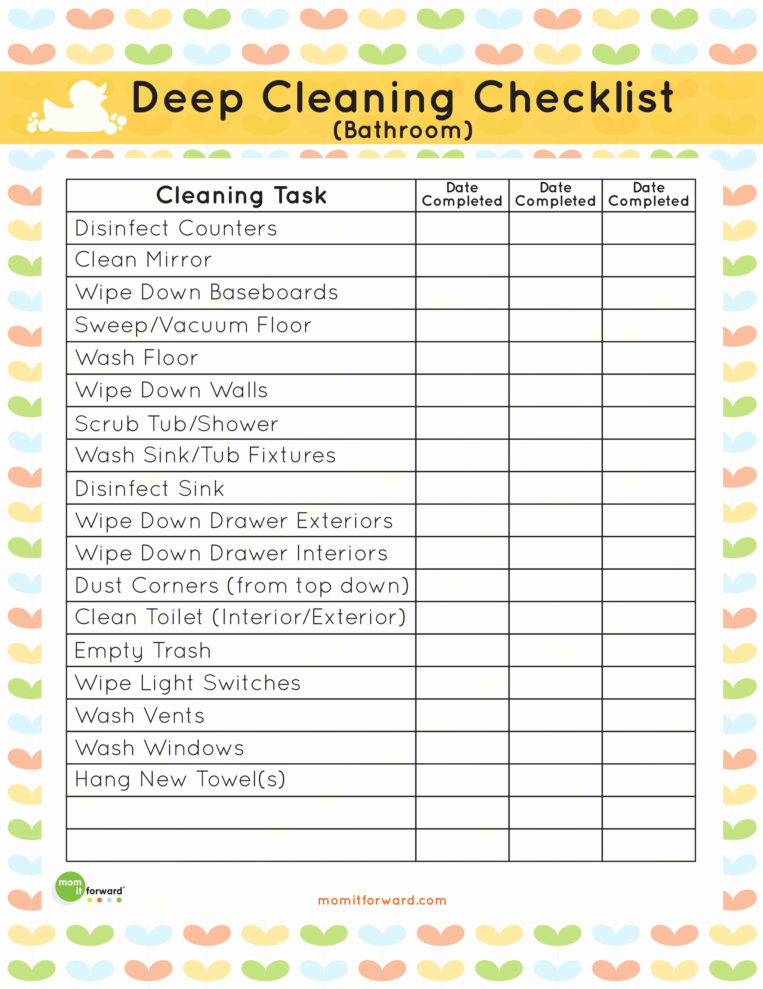 Preschool Cleaning Checklist Template Unique Printable Bathroom Deep Cleaning List Mom It forwardmom