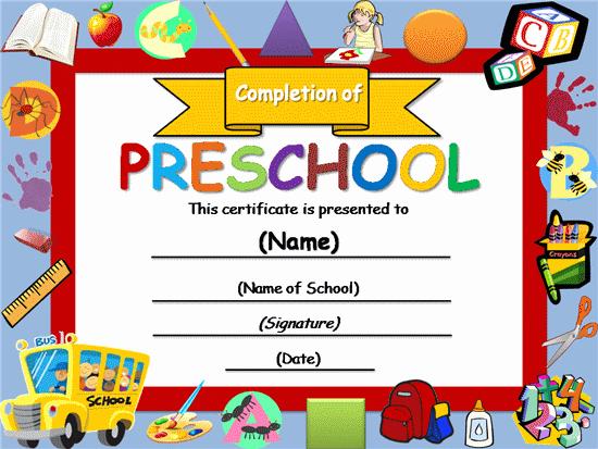 Preschool Graduation Certificate Template Free Awesome Free Certificate Templates