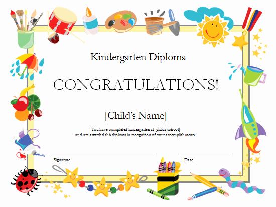 Preschool Graduation Certificate Template Free Beautiful Kindergarten Diploma Certificate