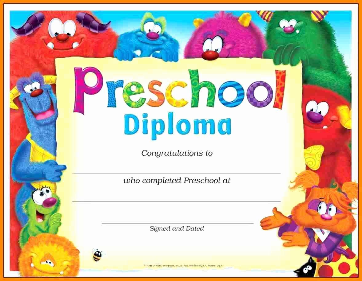 Preschool Graduation Certificate Template Free Beautiful Template Preschool Certificate Template