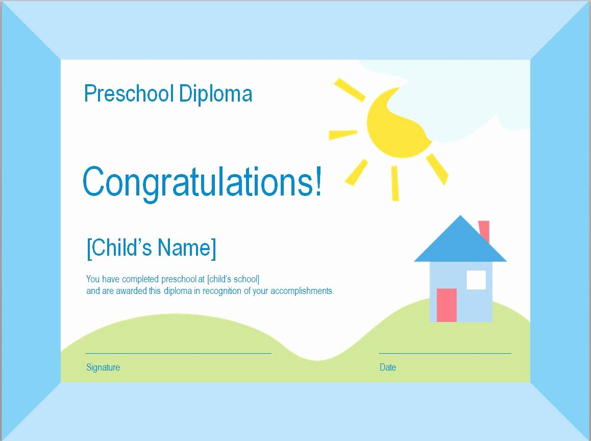 Preschool Graduation Certificate Template Free Best Of Business Card Template Ms Word