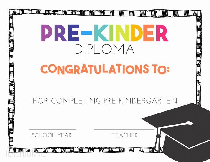 Preschool Graduation Certificate Template Free Elegant Free Pre K and Kindergarten Graduation Diplomas Teach Junkie