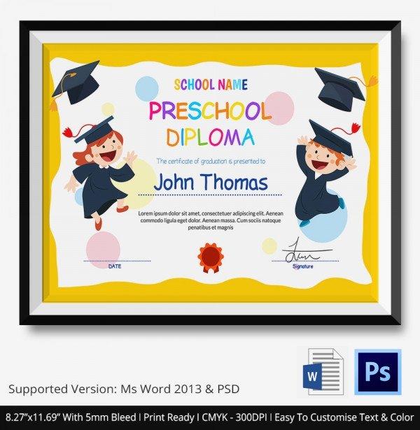 Preschool Graduation Certificate Template Free Fresh 11 Graduation Certificate Templates Word Pdf Documents