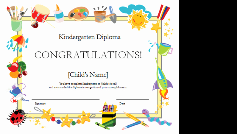 Preschool Graduation Certificate Template Free Inspirational Kindergarten Diploma Certificate