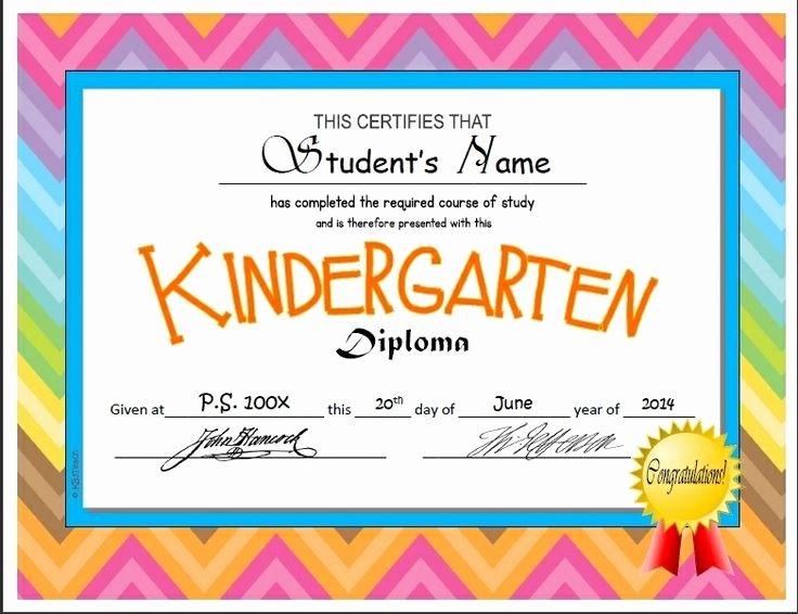 Preschool Graduation Certificate Template Free Lovely Kindergarten & Pre K Diplomas Editable