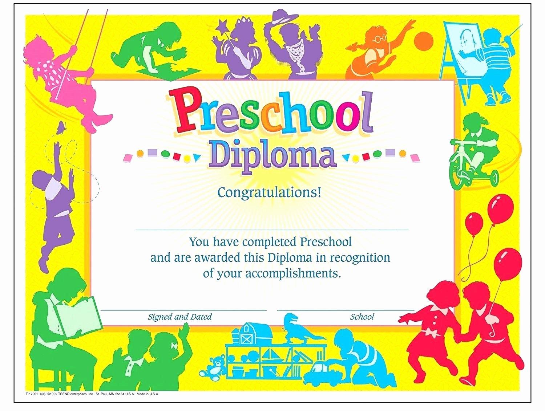 Preschool Graduation Certificate Template Free Lovely Template Preschool Graduation Certificate Template