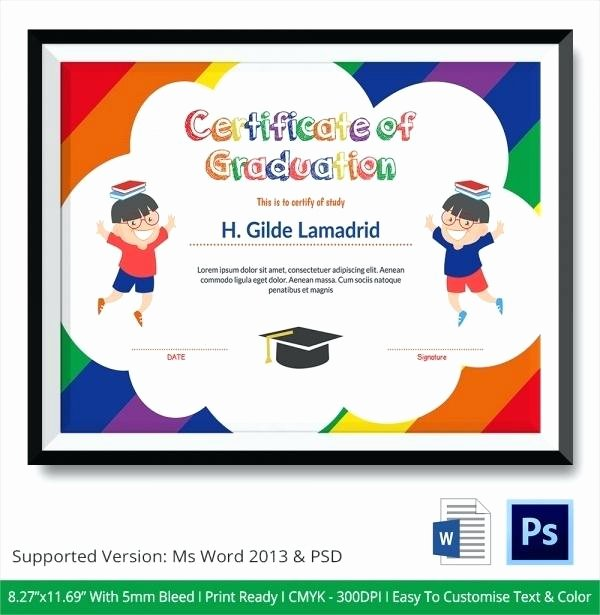 Preschool Graduation Certificate Template Free Luxury Template Preschool Graduation Certificate Template Word
