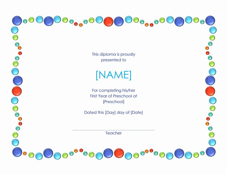 Preschool Graduation Certificate Template Free New 5 Templates Doc Certificates