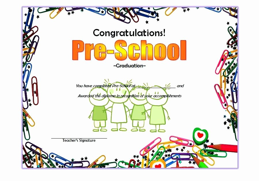 Preschool Graduation Certificate Template Free New Preschool Certificate Template Word Preschool Diploma