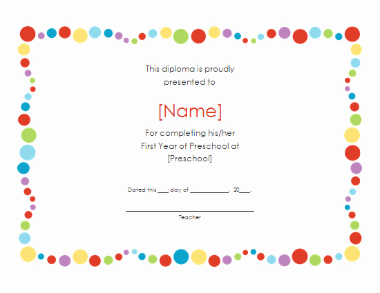 Preschool Graduation Certificate Template Free Unique 6 Best Of Free Printable Preschool Diplomas