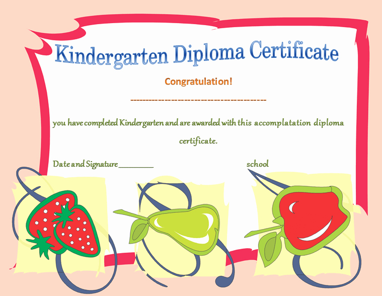 Preschool Graduation Certificate Template Free Unique Kindergarten Diploma Certificates Printable Templates