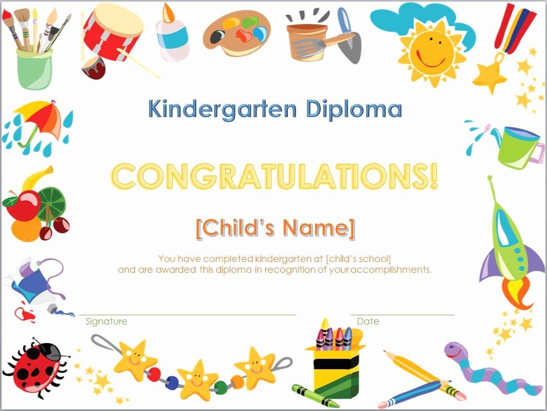 Preschool Graduation Certificate Template Free Unique Kindergarten Diploma Template
