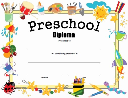 Preschool Graduation Certificate Template Free Unique Preschool Diploma Free Printable Allfreeprintable