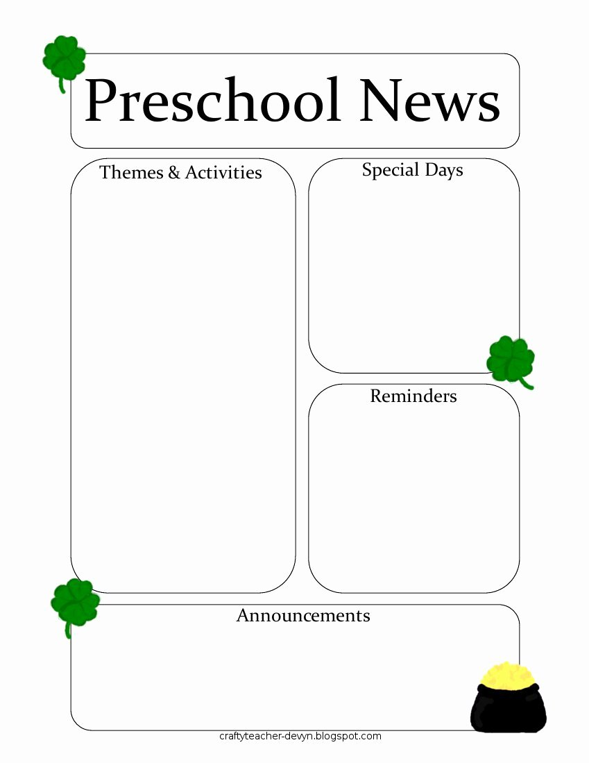 Preschool Newsletter Template Free Awesome Newsletter Templates