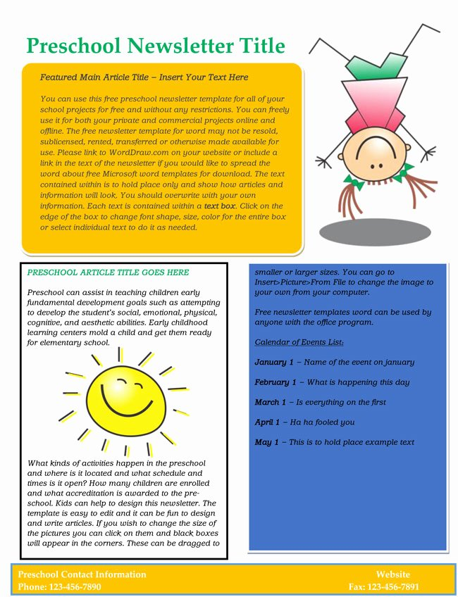 Preschool Newsletter Template Free Elegant 16 Preschool Newsletter Templates Easily Editable and