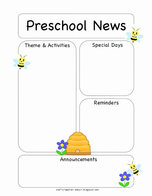 Preschool Newsletter Template Free Luxury Preschool Bee Newsletter Template