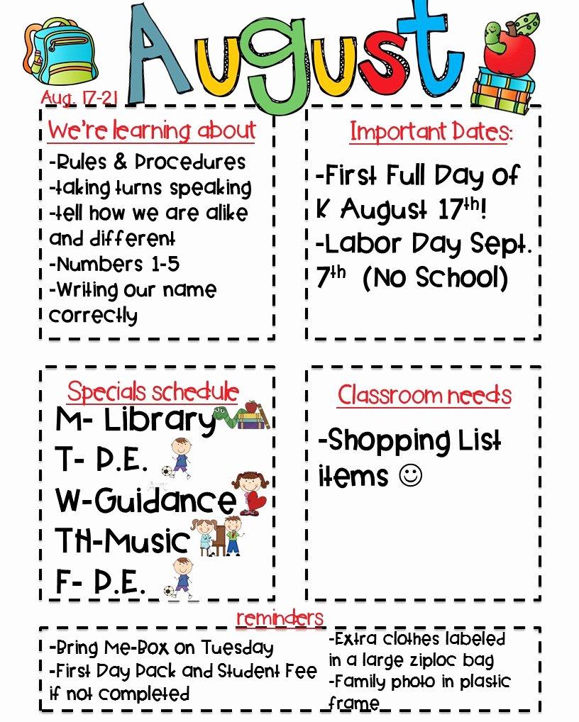 Preschool Weekly Newsletter Template Awesome Classroom Newsletter Freebie Kickin It In Kindergarten