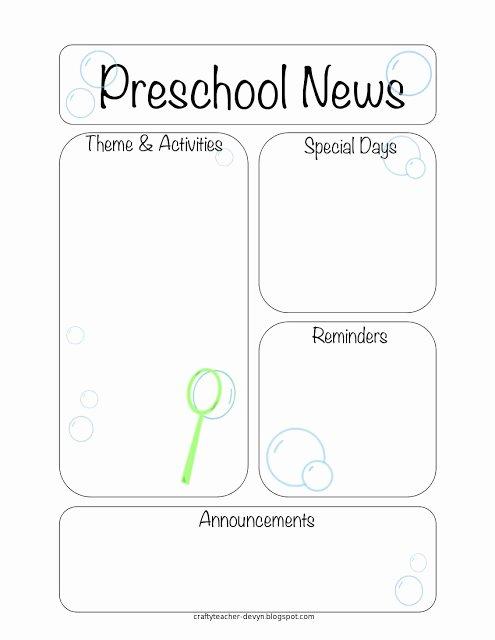 Preschool Weekly Newsletter Template Beautiful the Crafty Teacher Newsletter Templates