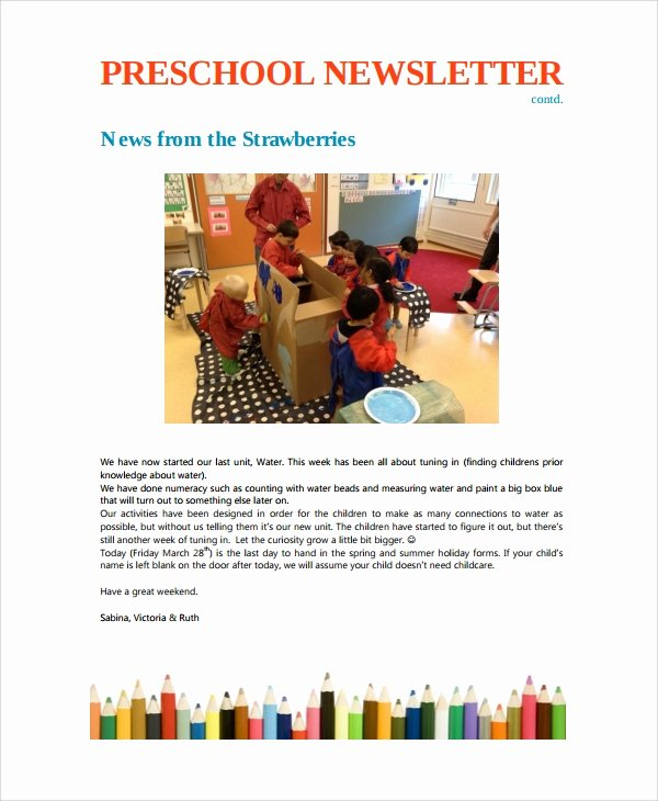 Preschool Weekly Newsletter Template Elegant 10 Weekly Newsletter Templates