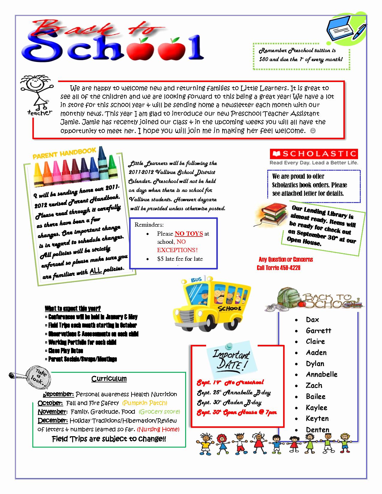 Preschool Weekly Newsletter Template Elegant September Preschool Newsletter Template