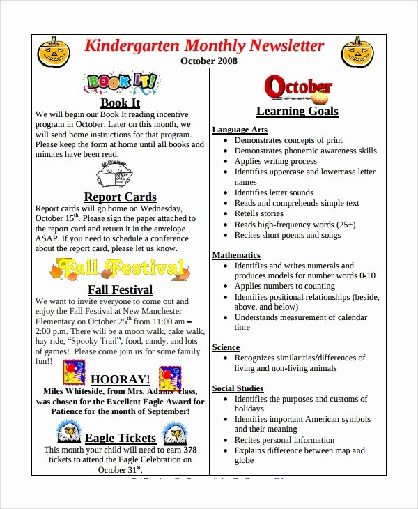 Preschool Weekly Newsletter Template Fresh 9 Sample Monthly Newsletter Templates
