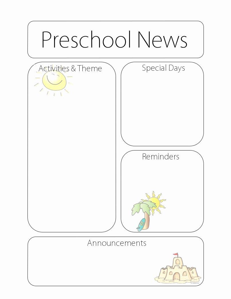 Preschool Weekly Newsletter Template Fresh Newsletter Templates