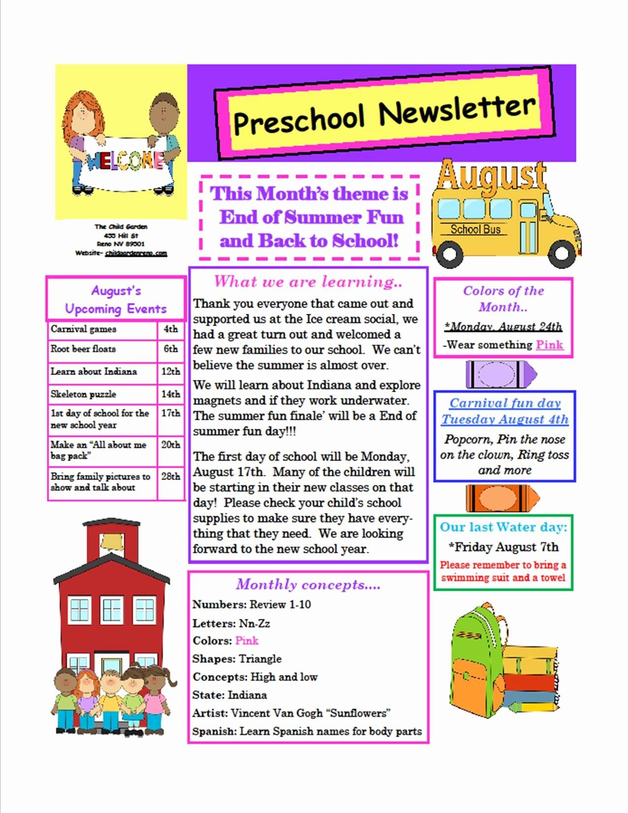 Preschool Weekly Newsletter Template Fresh the Child Garden Preschool
