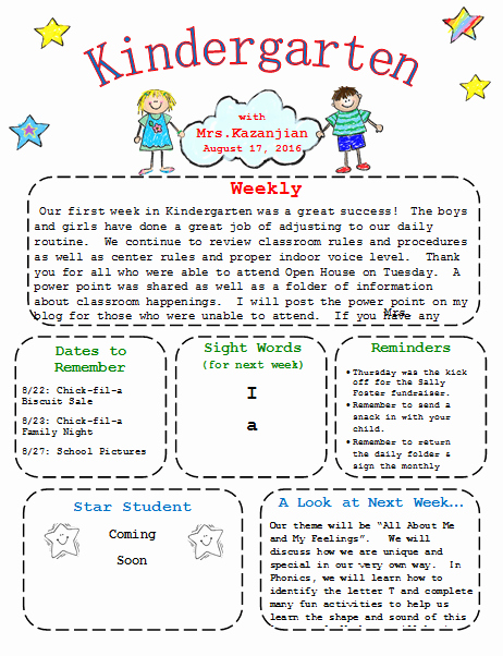 Preschool Weekly Newsletter Template Inspirational Kindergarten Newsletter Template 3 Free Newsletters