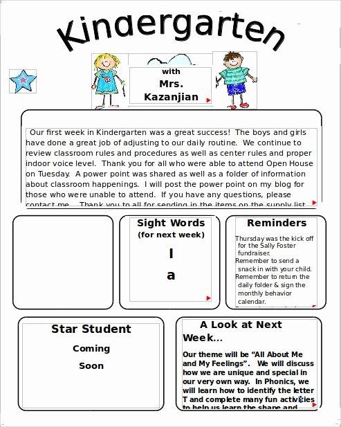 Preschool Weekly Newsletter Template Luxury 10 Sample Kindergarten Newsletter Templates