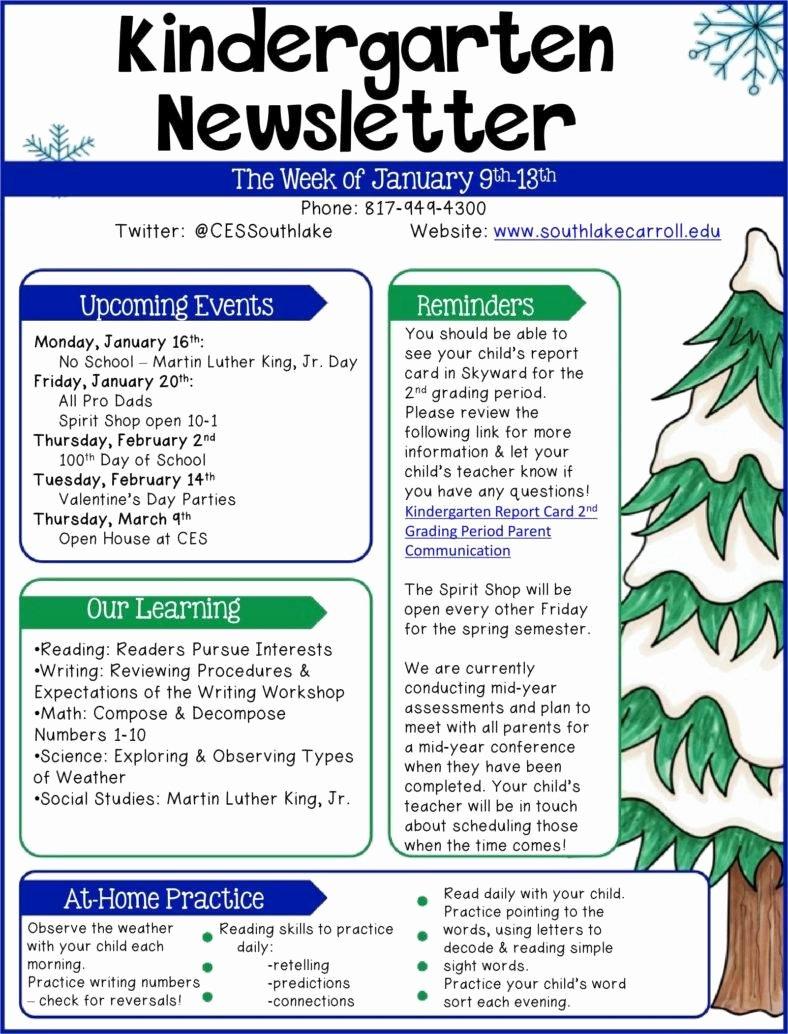 Preschool Weekly Newsletter Template Luxury 9 Kindergarten Newsletter Templates Free Samples