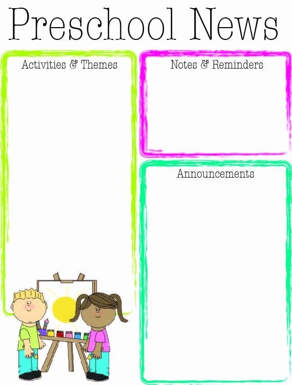 Preschool Weekly Newsletter Template Luxury Preschool Bright Color Newsletter