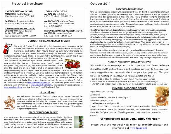 Preschool Weekly Newsletter Template New 7 Preschool Newsletter Templates Pdf Doc