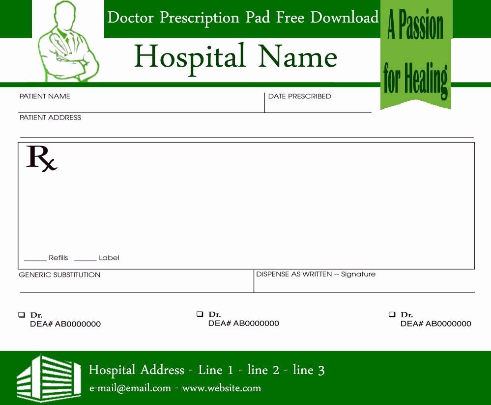 Prescription Pad Template Pdf Beautiful Prescription Pads Template for Doctors