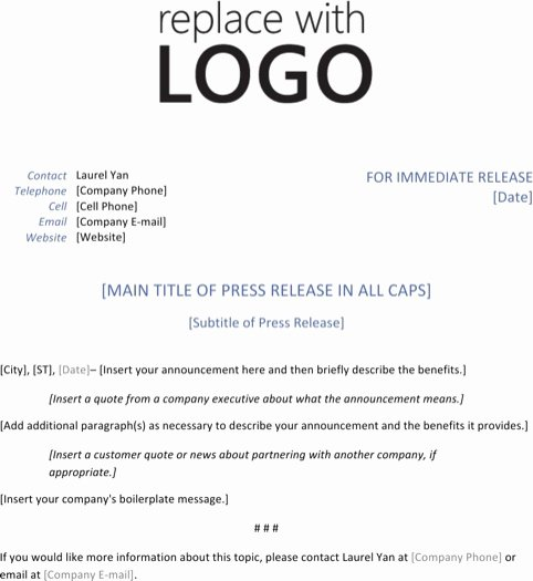 Press Release Email Template Awesome Press Release Template