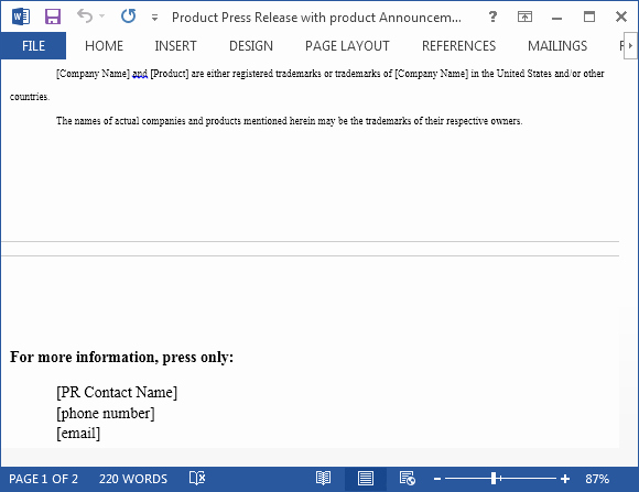 Press Release Email Template Best Of Product Press Release with Product Announcement Template