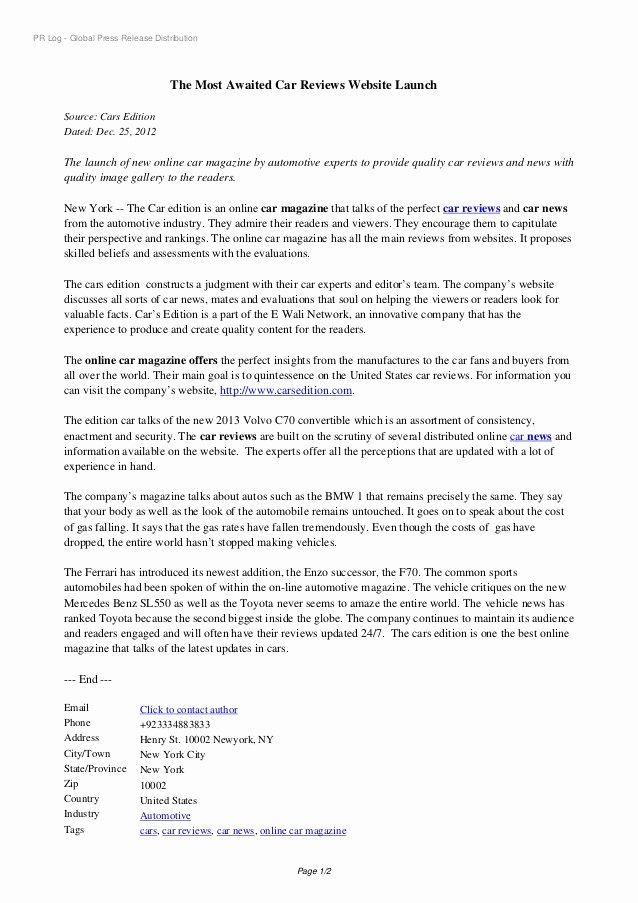 Press Release Email Template Elegant Automotive Website Launch Press Release Sample