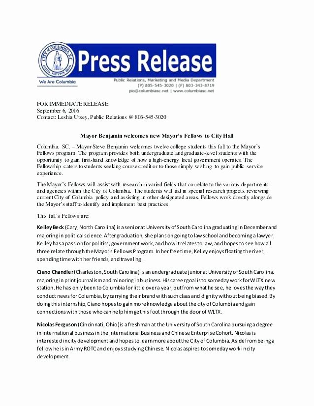 Press Release Email Template Fresh Press Release format Template Word Political Sample