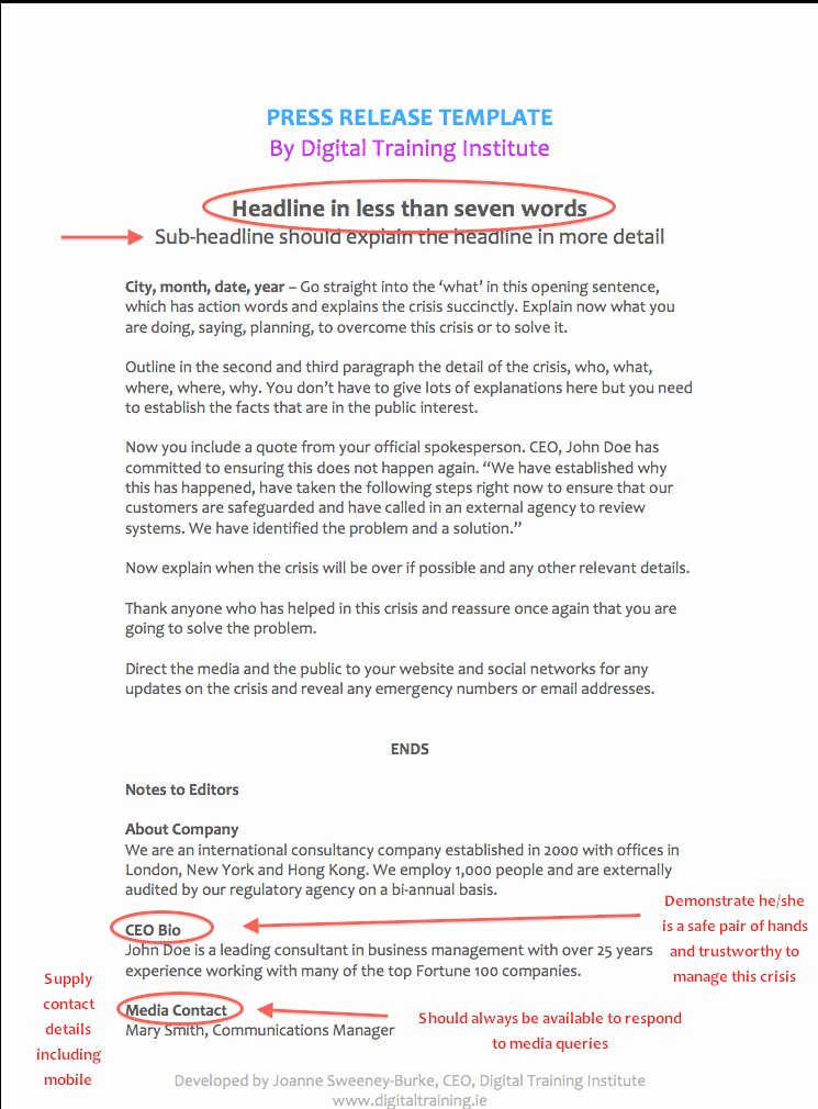 Press Release Email Template Lovely Pr Crisis Munications Plan