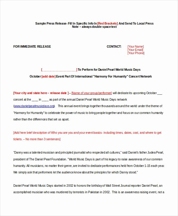 Press Release Email Template Luxury 22 Press Release Template Free Sample Example format