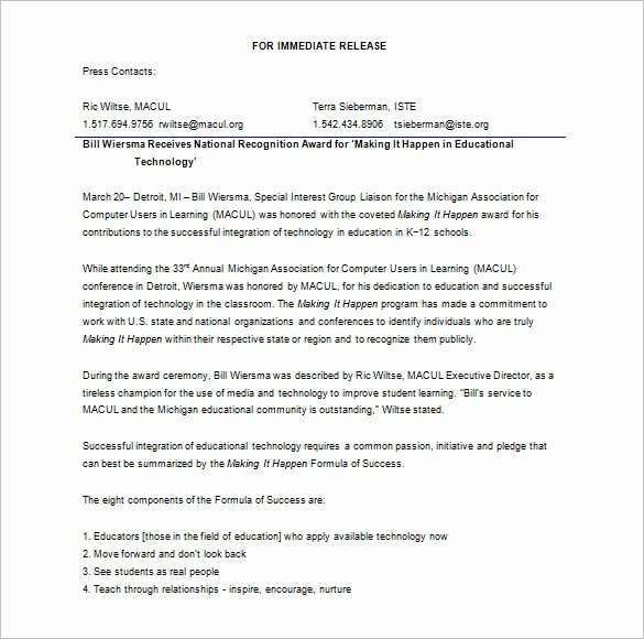 Press Release format Template Best Of 28 Press Release Template Word Excel Pdf